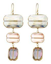 Panacea | Green Tripledrop Emerald Cut Crystal Earrings | Lyst