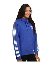 Adidas Originals | Blue 3-stripes Hoodie | Lyst