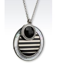 Emporio Armani - Metallic Necklace In Onyx And Mother Of Pearl - Lyst