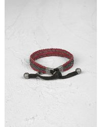 John Varvatos | Red Braided Leather Bracelet with Silver Detail for Men | Lyst