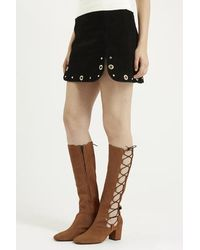 TOPSHOP - Brown Catalonia Ghillie High Leg Boots - Lyst