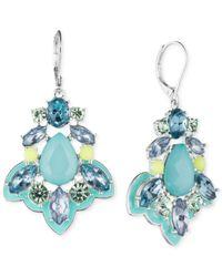 Nine West | Silver-tone Blue Crystal Chandelier Earrings | Lyst