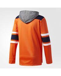 Adidas - Orange Oilers Jersey Replica Pullover Hoodie for Men - Lyst