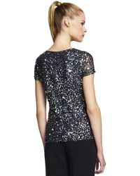 Adrianna Papell - Black Plus Plus V Neck Sequin Top - Lyst