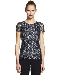 Adrianna Papell | Black Plus Plus V Neck Sequin Top | Lyst