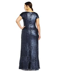 Adrianna Papell | Blue Short Sleeve Sequin Gown | Lyst