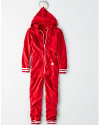 American Eagle - Red Ae Fleece Santa Onesie for Men - Lyst