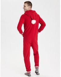 American Eagle - Red Ae Fleece Santa Onesie for Men - Lyst