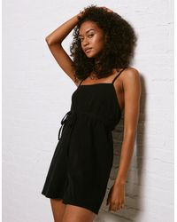 e02855191c82 Lyst - American Eagle Don t Ask Why Tie-waist Romper in Black
