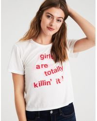 American Eagle - White Ae Girl Power T-shirt - Lyst