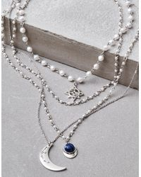 American Eagle - Metallic Silver Pearl Long Layering Necklace - Lyst