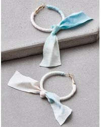American Eagle - Metallic Tie Dye Bow Hoop Earrings - Lyst