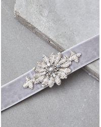 American Eagle - Gray Grey Velvet Statement Necklace - Lyst