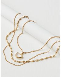 American Eagle - Metallic Short Layered Clear Crystal Necklace - Lyst