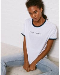 American Eagle White Don't Ask Why Ringer Graphic Tee