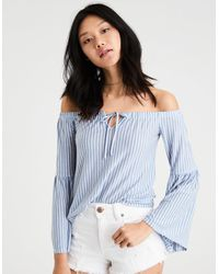42aef3906fefd3 American Eagle. Women s Blue Ae Soft   Sexy Off-the-shoulder Bell Sleeve Top