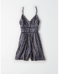 American Eagle - Blue Ae Ladder Trim Floral Romper - Lyst