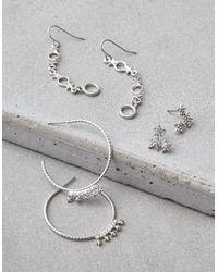 American Eagle - Metallic Silver Star Hoop & Stud Earrings 3-pack - Lyst