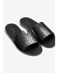 VINCE | Black Turner Leather Slides | Lyst