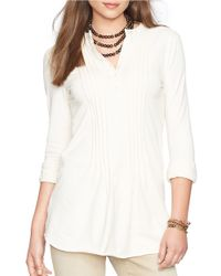 Lauren by Ralph Lauren | White Pintucked Cotton Top | Lyst