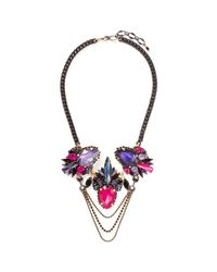 Erickson Beamon | Purple 'victoria Underground' Floral Crystal Chain Necklace | Lyst