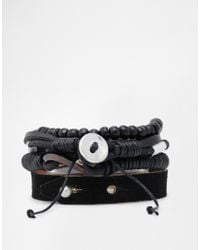 ASOS | Black Leather Bracelet Pack for Men | Lyst