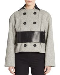 Atto - Gray Leather-trim Double-breasted Coat - Lyst