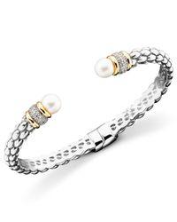 Macy's - Metallic 14k Gold & Sterling Silver Cultured Freshwater Pearl Diamond Accent Braid Bangle Bracelet - Lyst