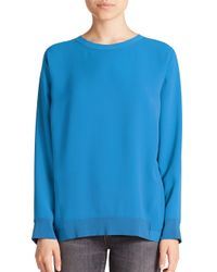 VINCE | Teal Inverted Pleat Blouse | Lyst