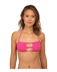Volcom - Pink Be Mayan Bandeau Top - Lyst