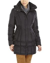 Cole Haan - Black Cinched Waist Down Coat - Lyst