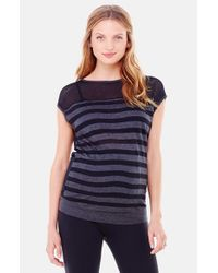 Ingrid & Isabel | Gray Stripe Mesh Maternity Top | Lyst