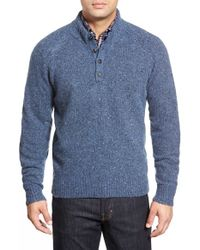 Peter Millar | Blue 'donegal' Wool Blend Henley Pullover for Men | Lyst
