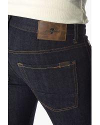 7 For All Mankind | Blue Stretch Selvedge Paxtyn Skinny With Split Seam Pocket In Dark Indigo for Men | Lyst