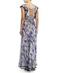 Roberto Cavalli - Blue Ruffle-sleeve Silk Chiffon Lace-front Gown - Lyst