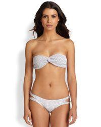 Tori Praver Swimwear - White Violet Ruched Bandeau Bikini Top - Lyst