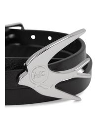 McQ | Black Leather Swallow Triple Wrap Bracelet | Lyst