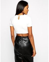 ASOS - Natural Crop Top In Premium Fabric With Short Sleeve - Lyst