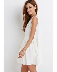 Forever 21 - Natural Embroidered Cutout Smock Dress - Lyst
