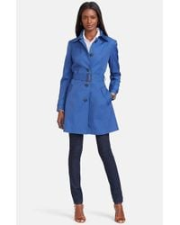 Lauren by Ralph Lauren - Blue Single Breasted Skirted Trench Coat - Lyst