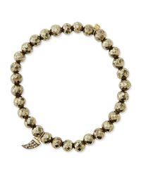 Sydney Evan | Metallic Pave Diamond Horn-charm Pyrite-bead Bracelet | Lyst