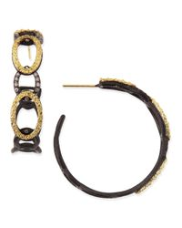Armenta | Metallic Midnight & Yellow Gold Circle Link Hoop Earrings With Diamonds | Lyst