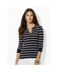 Ralph Lauren | Black Striped Cotton Henley | Lyst