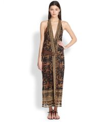 Donna Karan | Brown Printed Stretch Silk Wrap Dress | Lyst