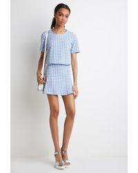 Forever 21 | Blue Boxy Gingham Print Top | Lyst
