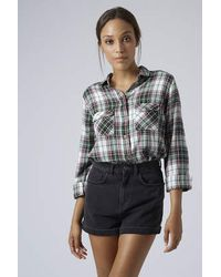 TOPSHOP - Black Long Sleeve Checked Shirt - Lyst