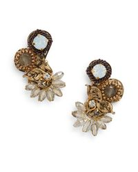 Saks Fifth Avenue | Metallic Beaded Cluster Earrings | Lyst