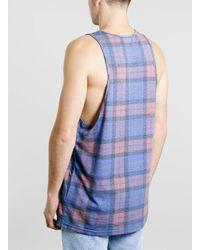 TOPMAN - Blue Burgundy Tartan Print Vest for Men - Lyst