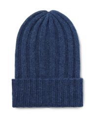 3567a20f87d The Elder Statesman Bunny Echo Ribbed Cashmere Beanie in Blue for ...