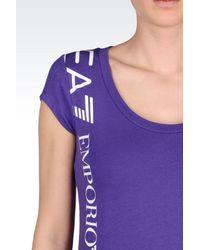 EA7 | Purple 7colours Line T-shirt In Stretch Cotton | Lyst